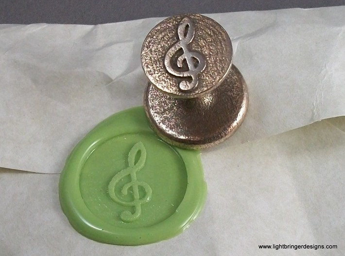 Treble Clef Wax Seal 3d printed Treble Clef wax seal and its impression in Lime Green wax