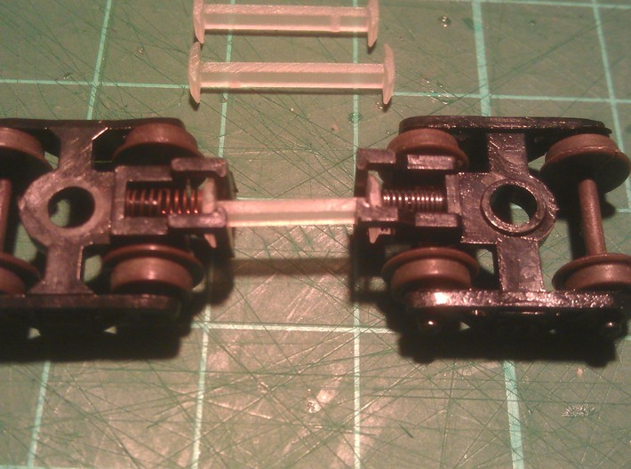 N Scale 10mm Fixed Coupling Drawbar x6 3d printed (12mm Coupling Used In Photo)