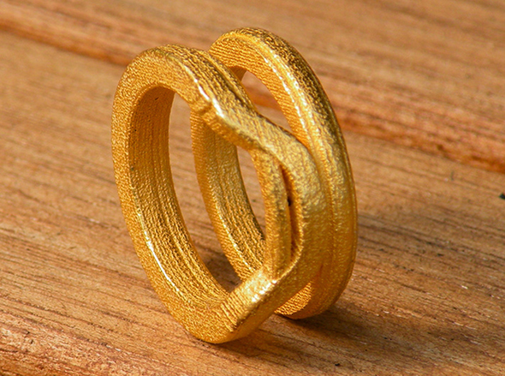 Balem's Ring1 - US-Size 2 1/2 (13.61 mm) 3d printed Ring 1 in polished gold steel (shown: size 6 1/2)