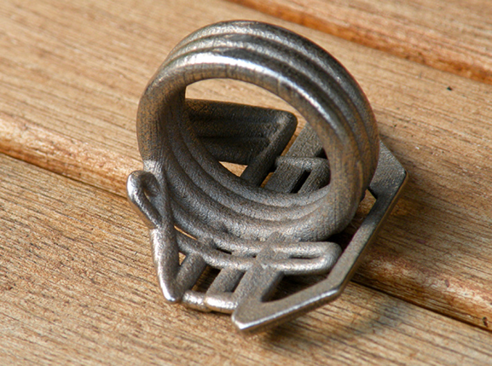 Balem's Ring2 - US-Size 3 1/2 (14.45 mm) 3d printed Ring 2 in stainless steel (shown: size 13)