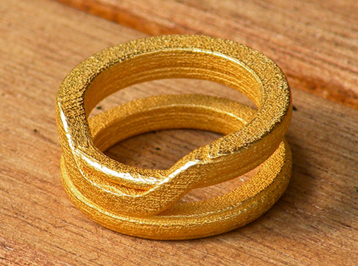 Balem's Ring1 - US-Size 4 1/2 (15.27 mm) 3d printed Ring 1 in polished gold steel (shown: size 6 1/2)