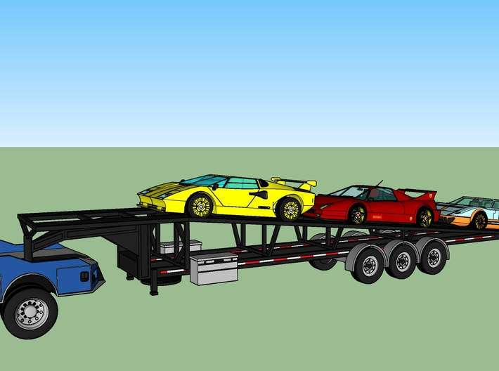 N Gooseneck 3 Car Trailer 2 Pack 3d printed