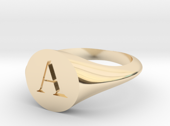 Letter A - Signet Ring Size 6 3d printed