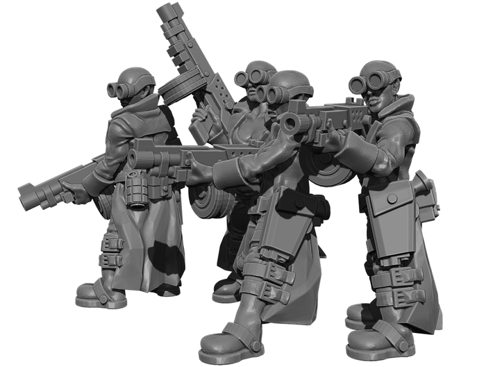 Female Stealth Gang with Automatic Rifles 3d printed This is a 3d render, not a photograph of the model printed in the material.