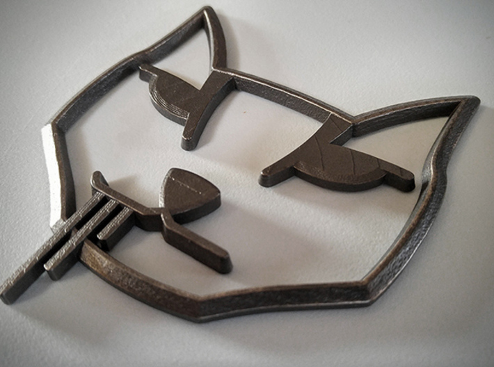 Stalker Cat Badge, Hood Curved 3d printed Photo of Badge in Polished Grey Steel