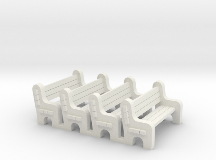 Street Bench 'O' 48:1 Scale Qty (4) 3d printed
