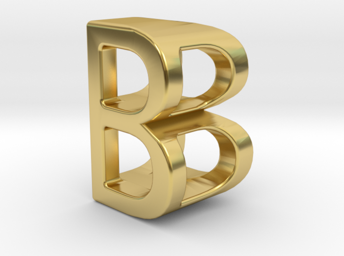 Two way letter pendant - BB B 3d printed