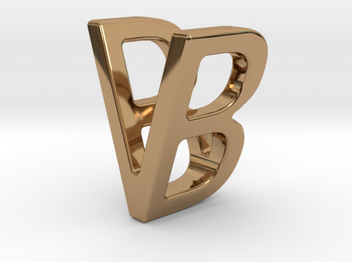 Two way letter pendant - BV VB 3d printed