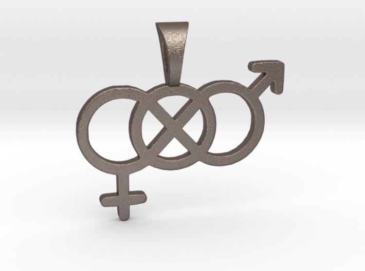 Genderfluid / Genderqueer Pride Symbol Pendant 3d printed