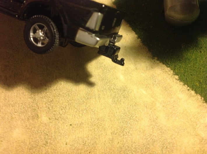 ERTL NEWEST RAM HITCH TO GREENLIGHT HITCH ADAPTER 3d printed Finished product, glued to the bottom of the ERTL Hitch