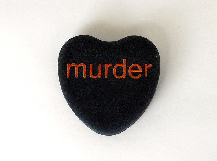 """Candy Heart """"murder"""" - Black/Red 3d printed"""
