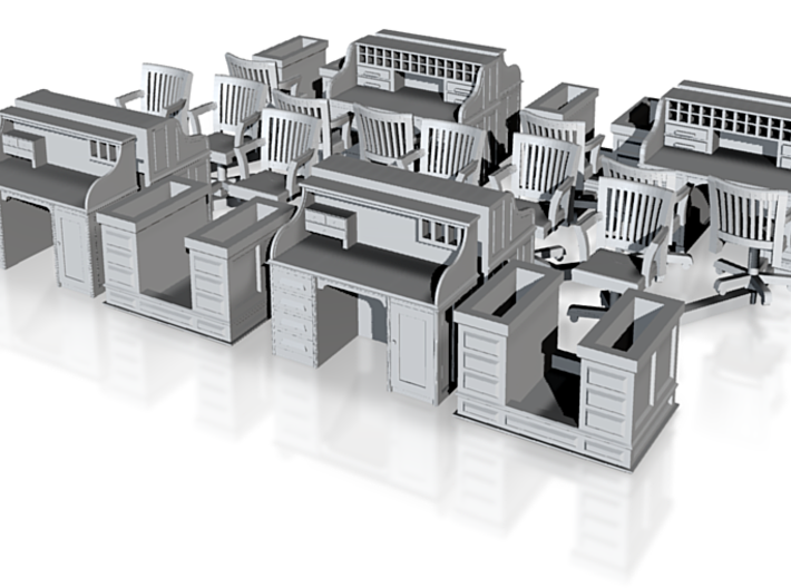Desks And Chairs X4 05 16 13 HO scale 3d printed