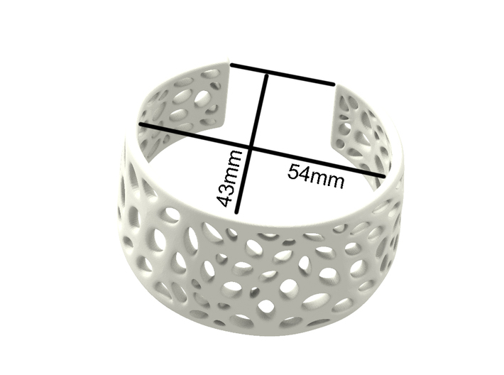 Cells Cuff One Layer (Size M) 3d printed Dimensions (Size M)