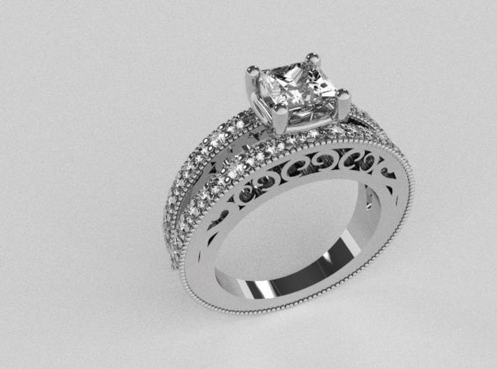 Princess cut Engagement Ring Sz.6 3d printed