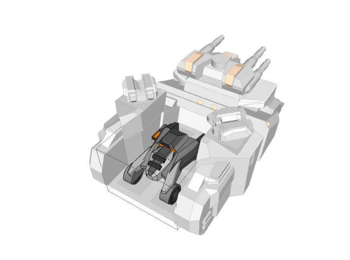 """""""Harbinger"""" Supertank 10mm (Available in color!) 3d printed Can fit 1 Tavo Buggy in the back. Tavo sold separately."""