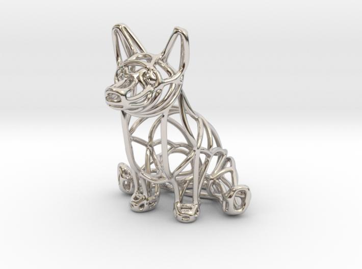 Corgi Wireframe Keychain (sitting) 3d printed