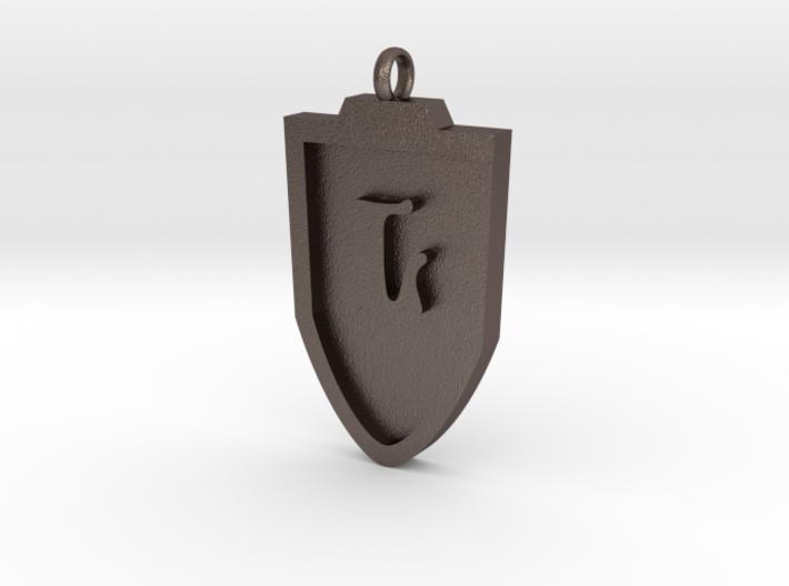 Medieval L Shield Pendant 3d printed