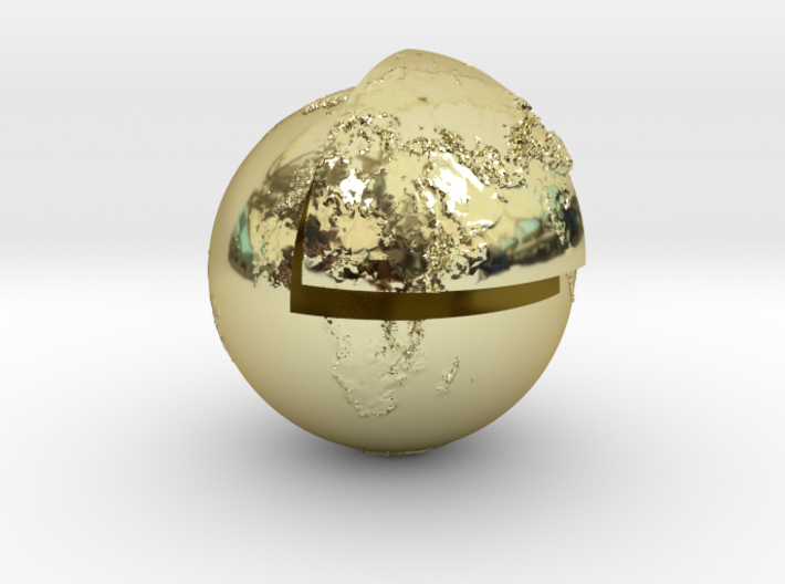Planet earth sectioned quarter 3d printed