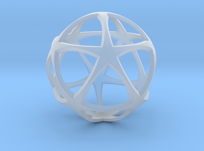 0302 Star Ball (Icosohedron with Stars) 3.0cm #001 3d printed