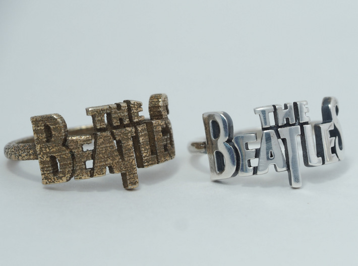 The Beatles Ring 3d printed Stainless Steel vs Polished Silver