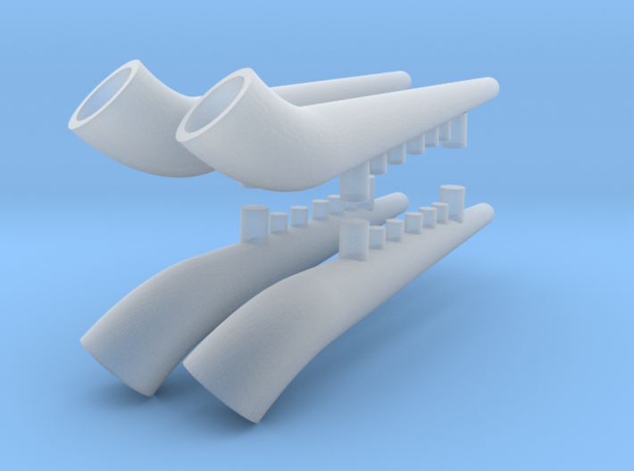 1:48 He-111 H2/3 Exhaust Replacements 3d printed
