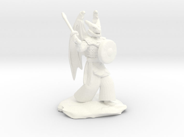 Winged Dragonborn Druid with Scimitar and Shield 3d printed