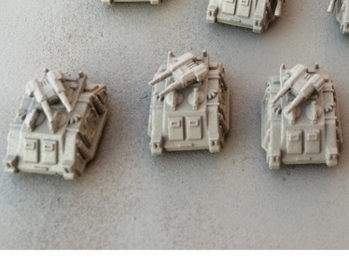 6mm Sci-Fi Twin-Gun Turrets (12pcs) 3d printed Photo courtesy of Sean Gewecke, at http://gamingandshooting.blogspot.com/2014/07/upgrading-6mm-gw-rhinos-to-predators.html