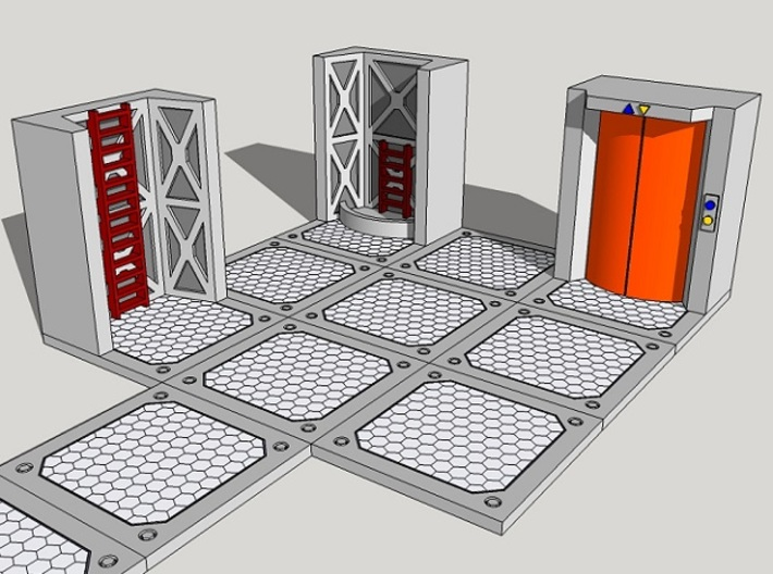 15mm Sci-Fi Ladders and Lifts 3d printed