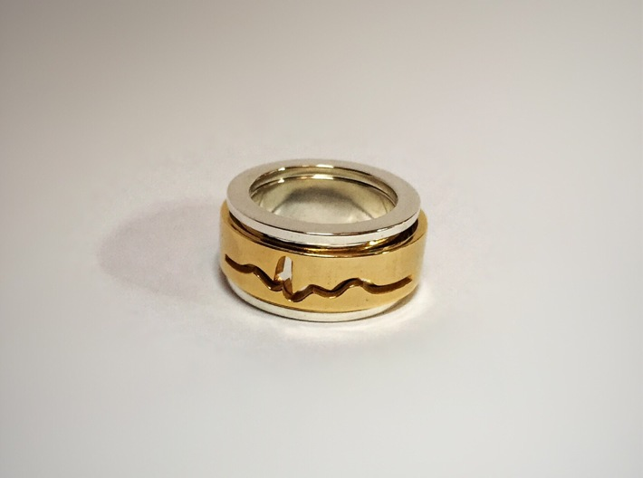 ECG spinner ring (spinner part 3 of 3) 3d printed 14 gold plated inner ring and premium silver outer rings