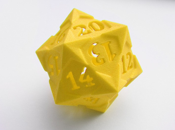 'Starry' D20 Gaming die LARGE 3d printed The die pictured is the spindown version. The gaming die looks the same but with regular  ordering of the numbers. See the renders for this.
