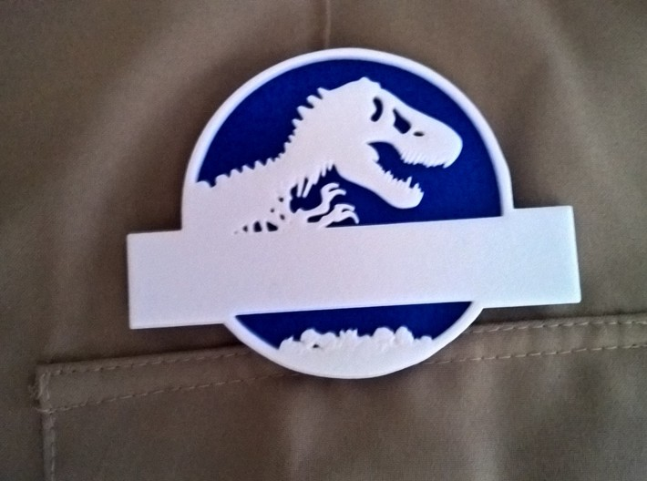 Jurassic World Nametag Bottom-Plate 3d printed Name Tag Close-Up