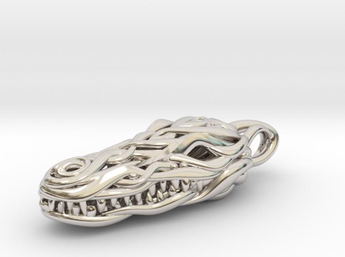 the Crocodile Head Pendant 3d printed