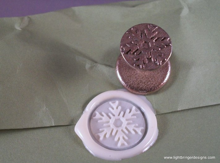 Snowflake Wax Seal 3d printed Snowflake wax seal with impression in Bone White sealing wax
