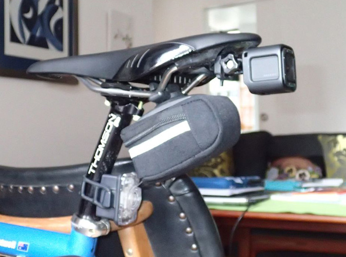 Cateye to GoPro adaptor mount 3d printed Prototype with HERO4 Session camera mounted to Fizik saddle
