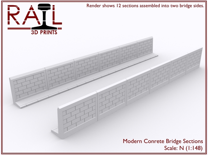 12 Concrete Bridge Sections - N Scale 3d printed Render shows sections assembled into two bridge sides.