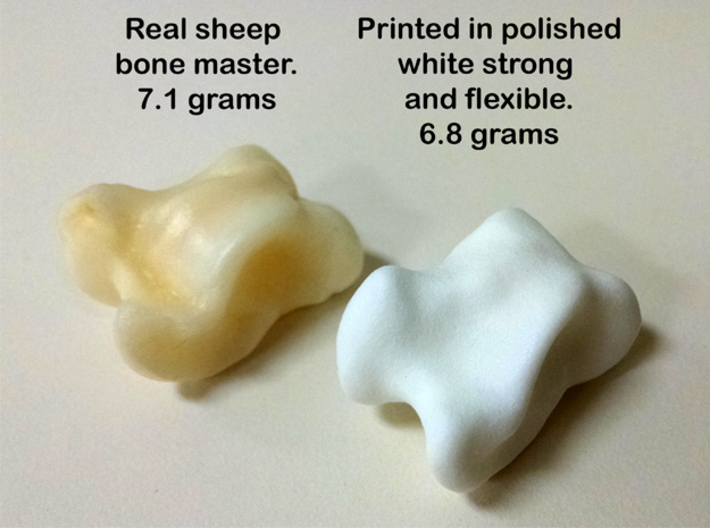 Knucklebone Dice Set 3d printed Side by side comparison of real bone and 3D printed one.