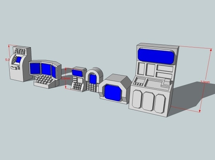 6mm Computer Consoles and Vending Machines 3d printed