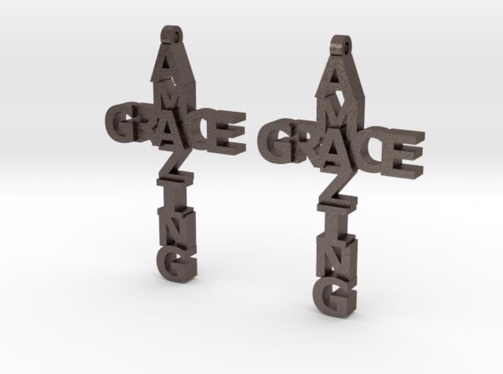 Amazing Grace Cross Earrings 3d printed
