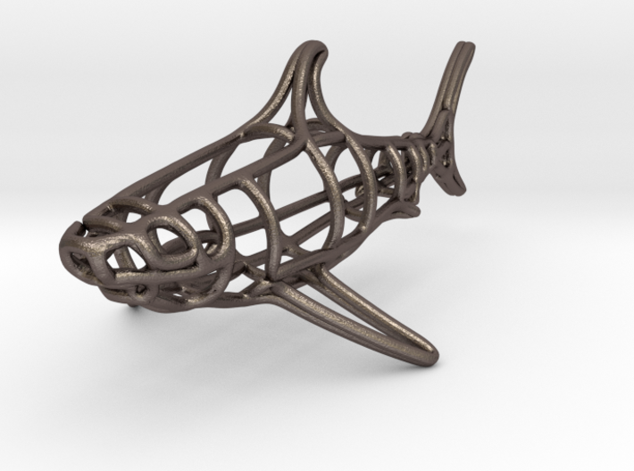 Shark Wireframe Keychain 3d printed