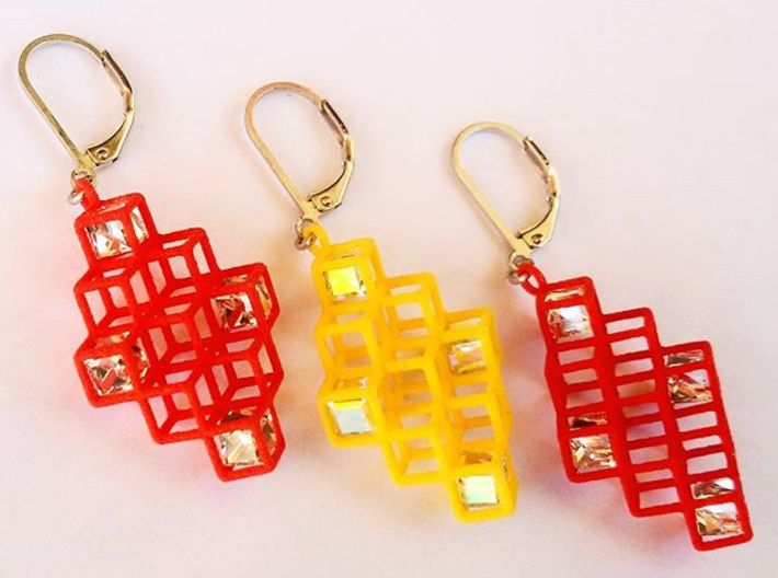 "Cube Earrings 2 ""Points of View"" collection 3d printed"