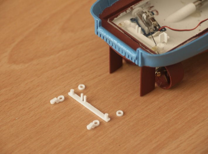 MV Anticosti, Rudder Mechanism (RC, 1:200) 3d printed mounting position and mounted parts in Anticosti RC model