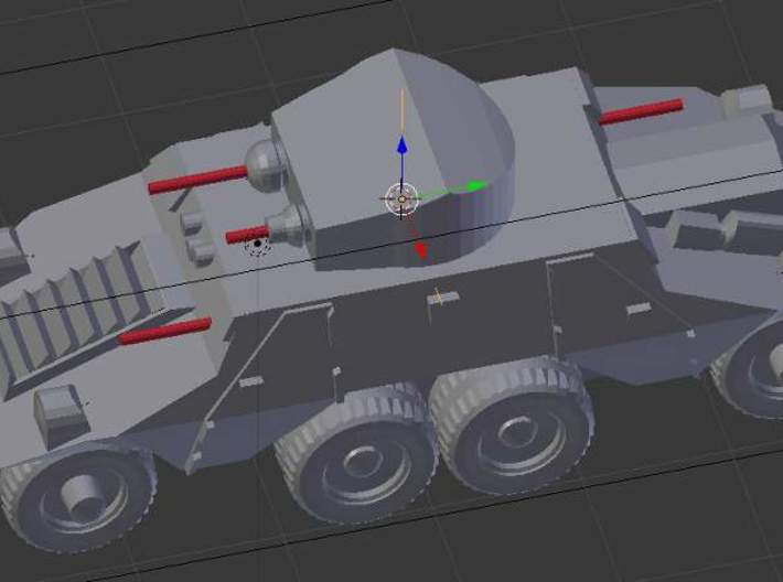1/300 Austrian ADGZ Armored Car 3d printed The 4 guns marked in red should be added with length of wire