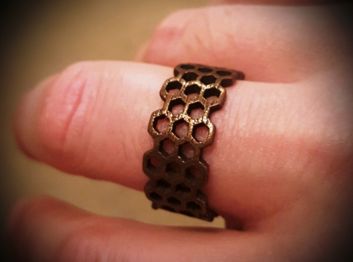 Honeycomb Fashion Ring Size 10 3d printed