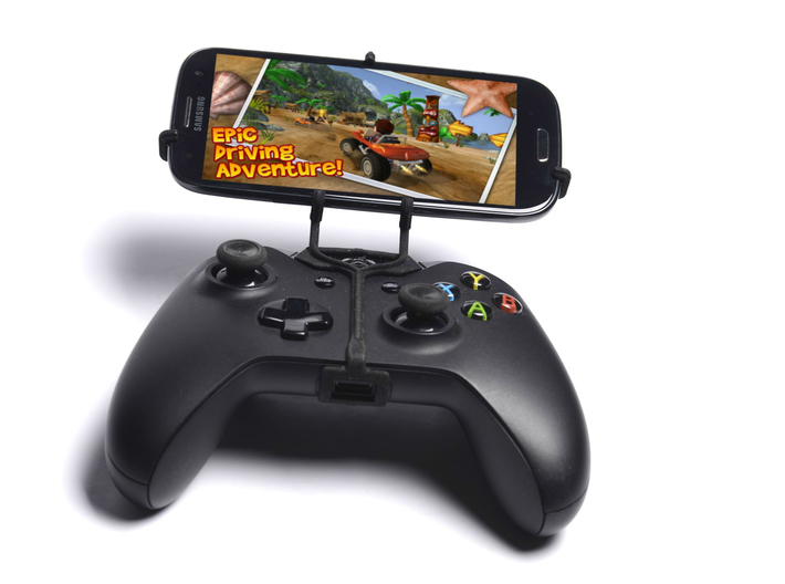 Xbox One controller & Cat B15 Q 3d printed Front View - A Samsung Galaxy S3 and a black Xbox One controller