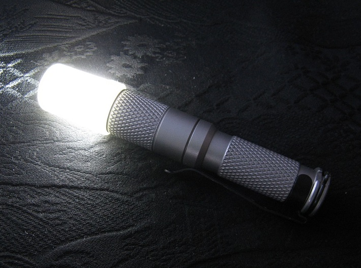 14mm Flashlight Diffuser (Flat Top) 3d printed Diffuser mounted on a stainless steel AAA Maratac flashlight (not included)