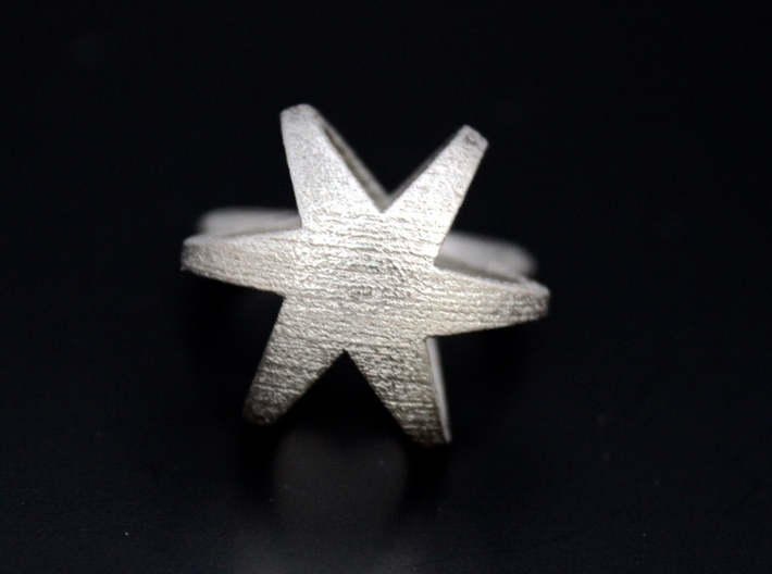 3D STAR GLITZ SPARKLE RING - size 7 3d printed