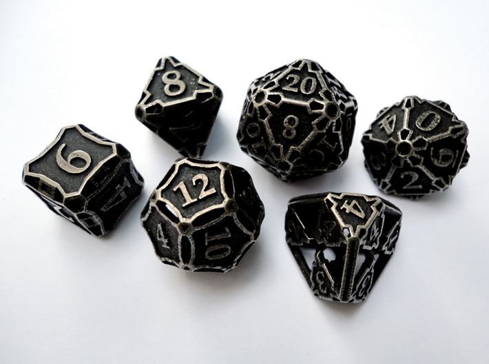 Large Premier Dice Set 3d printed In stainless steel and inked