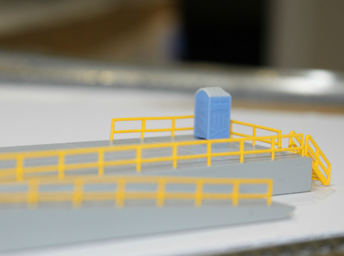 N Railings 10x100mm 3d printed Painted railings on a fuel platform. Thanks for the picture Dave!