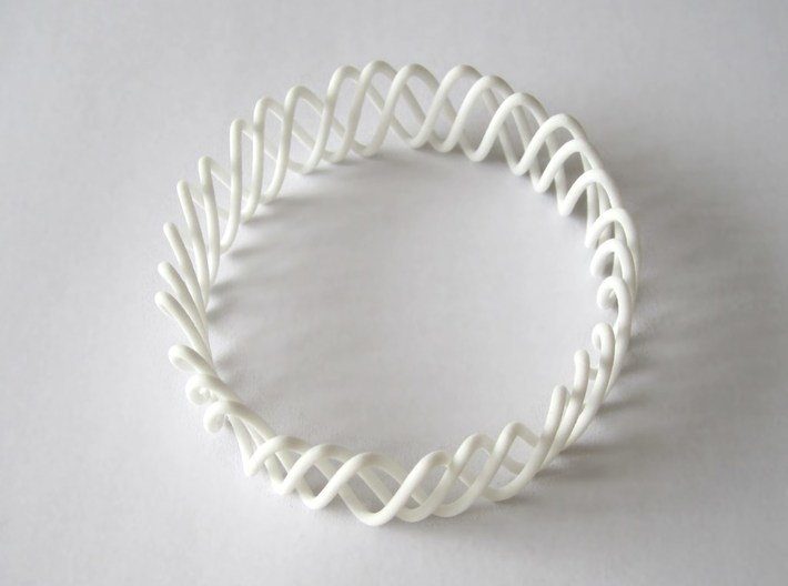 Spring Bracelet 3d printed in White Strong and Flexible