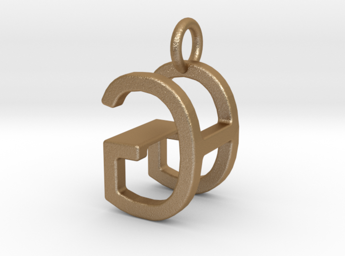 Two way letter pendant - GH HG 3d printed
